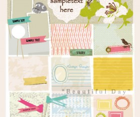 Set of cute Pink Label Stickers vector 02