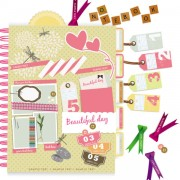 Link toSet of cute pink label stickers vector 03