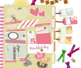 Set of cute Pink Label Stickers vector 03