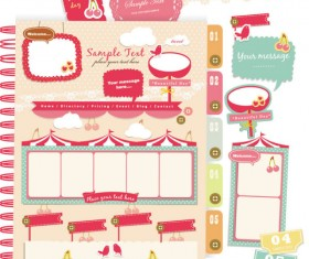 Set of cute Pink Label Stickers vector 04