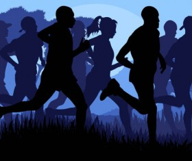 Set of running Silhouettes vector 01