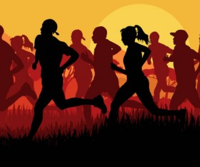 Set of running Silhouettes vector 02