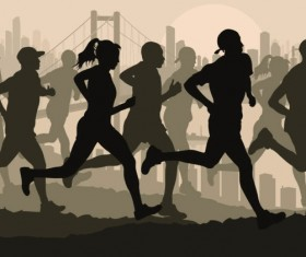 Set of running Silhouettes vector 05
