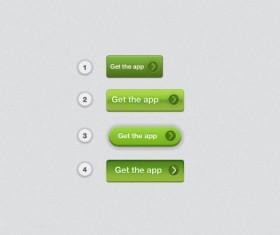 Creative green Buttons Layered PSD