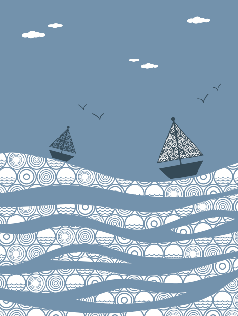 Sailing on the sea elements vector