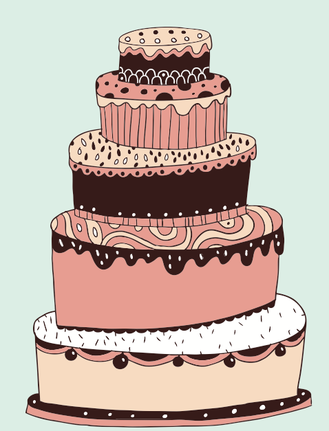 cute cartoon Cake elements vector