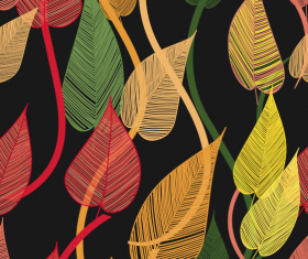 Abstract Leaf elements vector 01