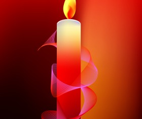 Romantic candle elements vector 03