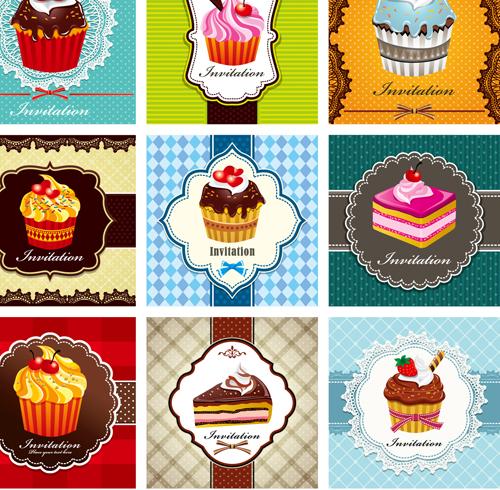 cupcake card vector set 02 - Vector Card free download