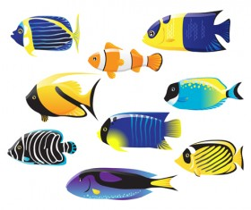 Set of Various Fish vector 02