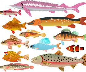 Set of Various Fish vector 03