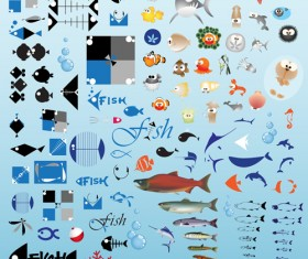 Set of Various Fish vector 04