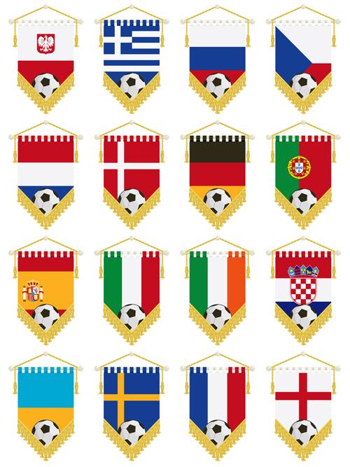 football flag elements vector set 02