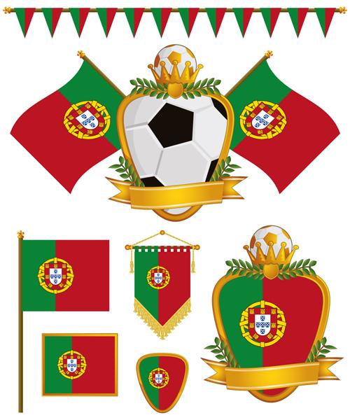 football flag elements vector set 13