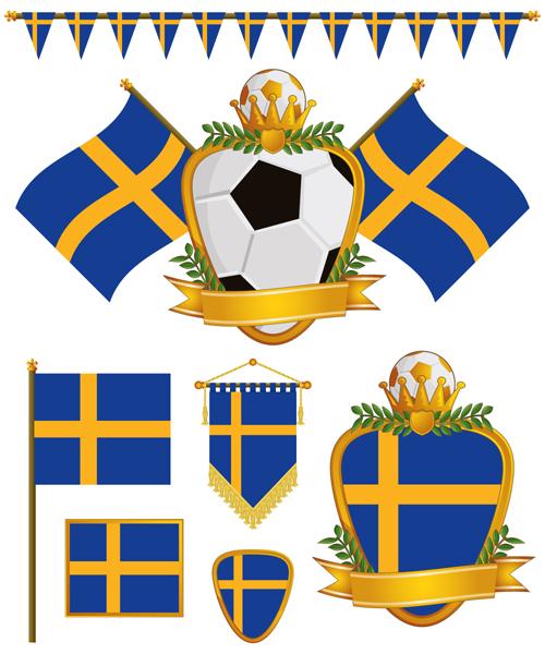 football flag elements vector set 14