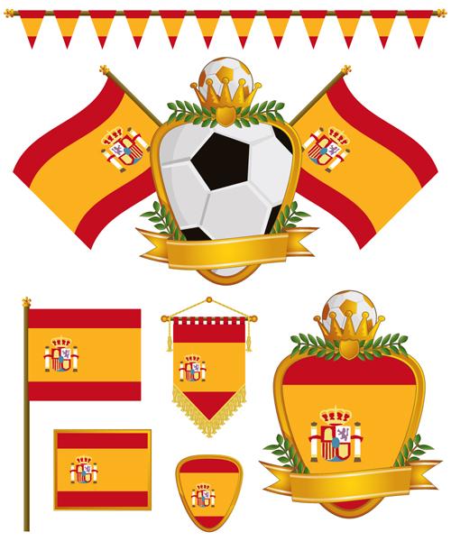 football flag elements vector set 16
