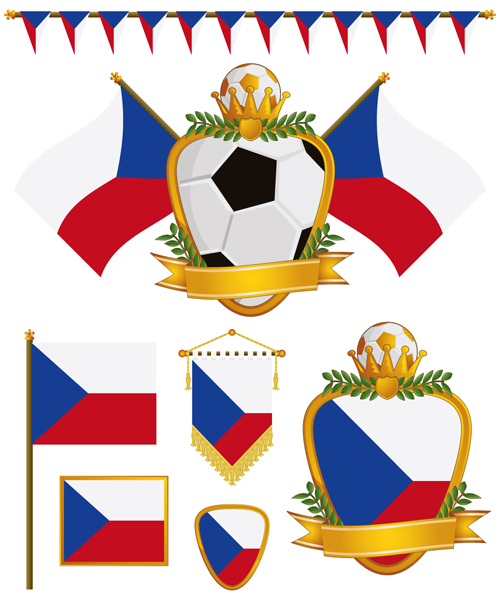 football flag elements vector set 18