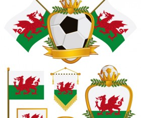 football flag elements vector set 19
