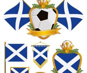 football flag elements vector set 20
