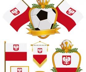 football flag elements vector set 03