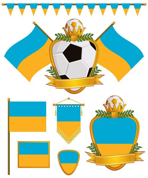 football flag elements vector set 04
