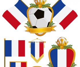 football flag elements vector set 05