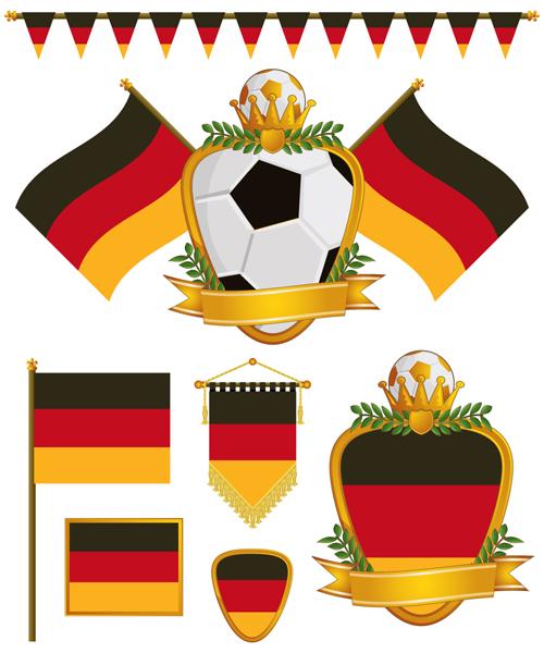 football flag elements vector set 07