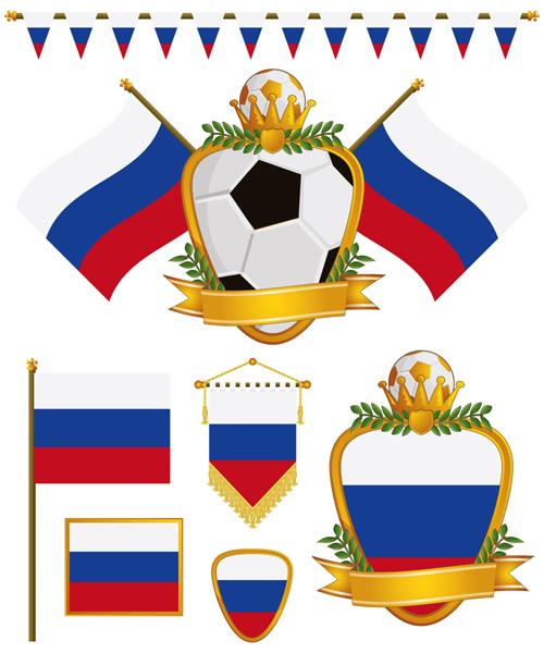 football flag elements vector set 08