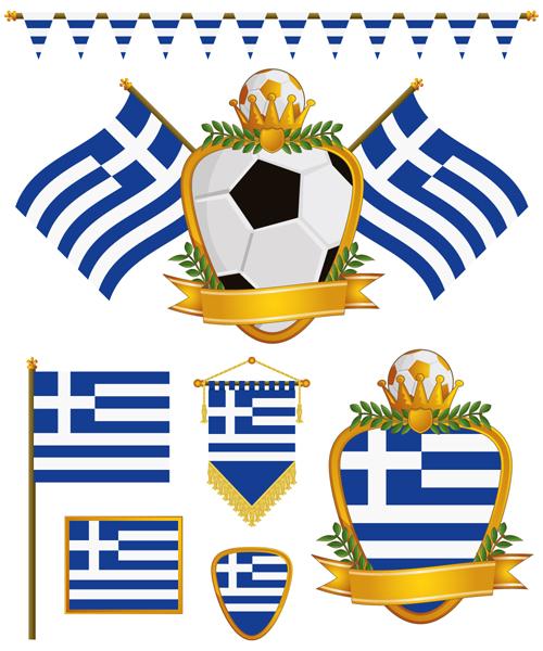 football flag elements vector set 09