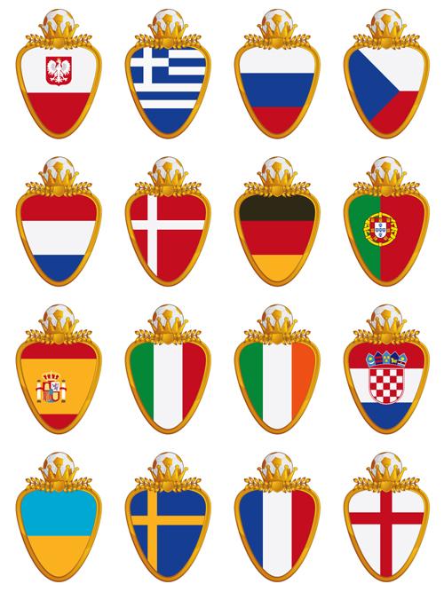 football flag elements vector set 01