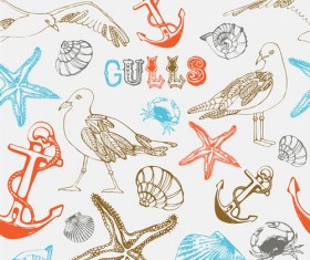 Set of Marine Small animals seamless pattern vector 01
