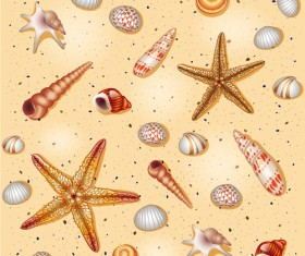 Set of Marine Small animals seamless pattern vector 04