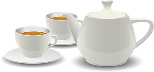 Set Of Teapot And Tea Cup Vector 04 Over Millions Vectors Stock