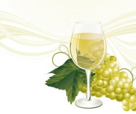 Grapes and grape wine elements vector 03