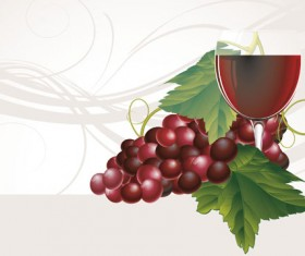 Grapes and grape wine elements vector 04