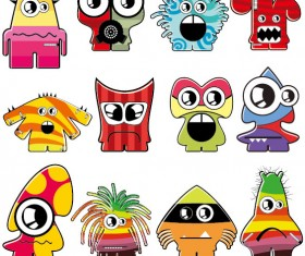 Vector of Funny cartoon monsters 01