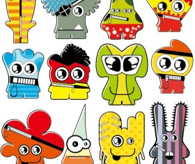 Vector of Funny cartoon monsters 02