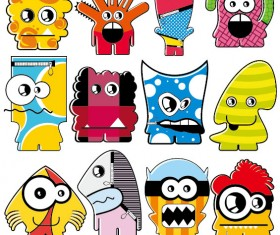 Vector of Funny cartoon monsters 03