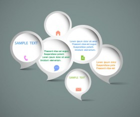 vector elements of Circle and cloud for the text template 01