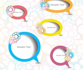 vector elements of Circle and cloud for the text template 04