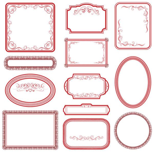 vintage red frame vector free download