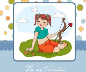 Set of cute girl elements card vector 01
