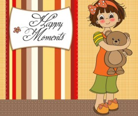 Set of cute girl elements card vector 02