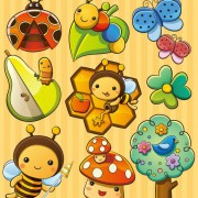 Link toCute cartoon insects and plants vector 01