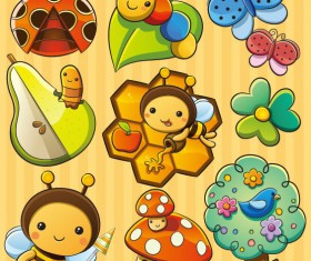 cute cartoon Insects and plants vector 01