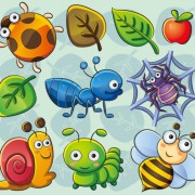 Link toCute cartoon insects and plants vector 02