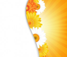 Sunflower elements background vector 05