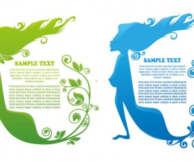 Beauty Silhouettes elements background vector 01