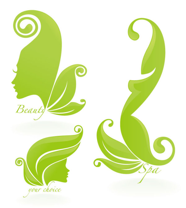 Beauty Silhouettes Elements Background Vector 05 Over