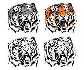 Set of Tiger vector picture art 05